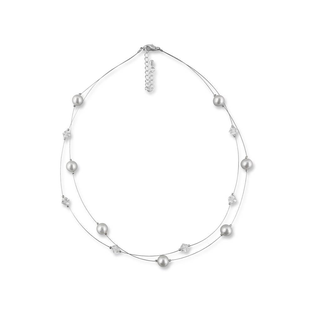 Kette Hochzeit Perlen weiß creme, Silber, Swarovski Kristalle, Schmucketui, Halskette Perlen, Perlenkette mehrreihig Bild 1