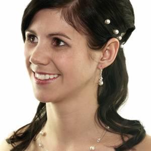 Kette Hochzeit Perlen weiß creme, Silber, Swarovski Kristalle, Schmucketui, Halskette Perlen, Perlenkette mehrreihig Bild 3
