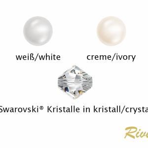 Kette Hochzeit Perlen weiß creme, Silber, Swarovski Kristalle, Schmucketui, Halskette Perlen, Perlenkette mehrreihig Bild 4