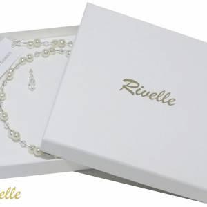 Kette Hochzeit Perlen weiß creme, Silber, Swarovski Kristalle, Schmucketui, Halskette Perlen, Perlenkette mehrreihig Bild 7