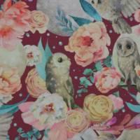Sweat weinrot mit Eulen und Rosen 50 x 150 cm French Terry Bild 1