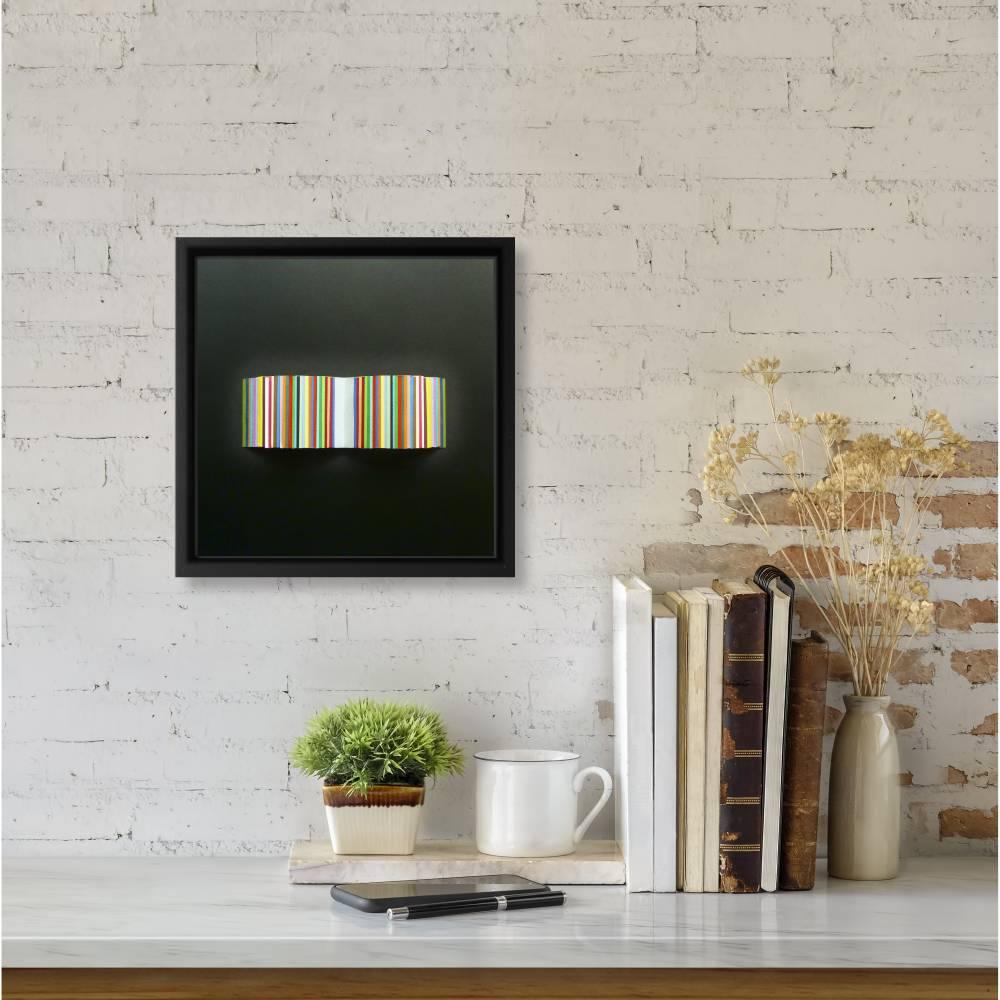 Bunte Streifen auf schwarz // 3D-Wandbild im Objektrahmen Bild 1