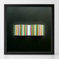 Bunte Streifen auf schwarz // 3D-Wandbild im Objektrahmen Bild 2