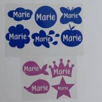 Namenetiketten zum Aufbügel Set Etiketten Name verschieden Motive/Farben Bild 1