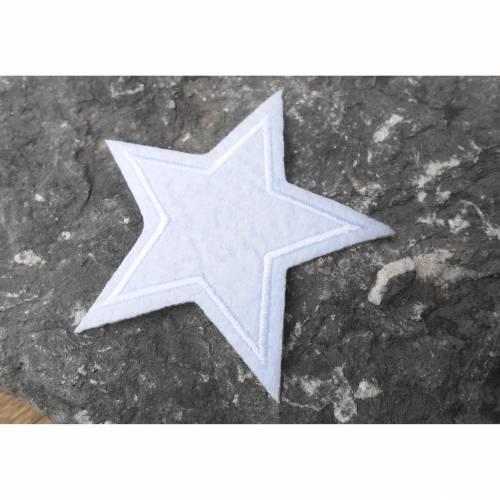 Stern weiss   6,5  cm  gestickt Patch  Applikation zum aufbügeln