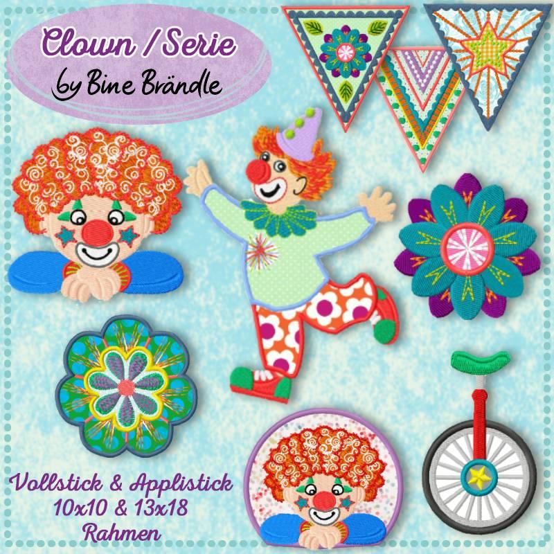 12 x Stickdateien aus der Clownserie by Bine Brändle 10x10 & 13x18 Rahmen Bild 1
