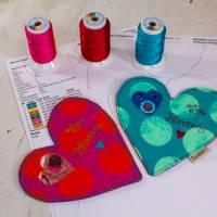 Valentinstag Freebie Herz Untersetzer Stickdatei ITH-Stickdatei ab 160 x 260 und 165 x 260 cm er Rahmen Bild 2