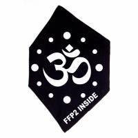 """Überzug für FFP2 Maske """"Om Symbol 2"""" Schwarz oder Weiß - Motiv in Wunschfarbe Bild 3"""
