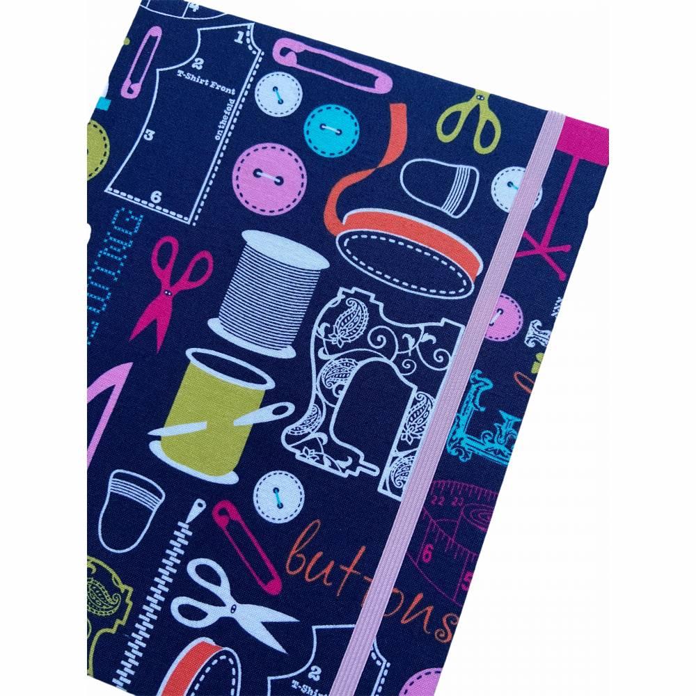 """Notizbuch Tagebuch Projektbuch Kladde """"Let´s sew!"""" Hardcover 17,5 x 23 cm stoffbezogen Stoff Nähen Hobby DIY Bild 1"""