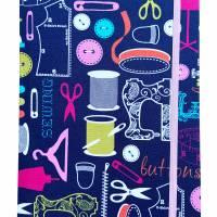 """Notizbuch Tagebuch Projektbuch Kladde """"Let´s sew!"""" Hardcover 17,5 x 23 cm stoffbezogen Stoff Nähen Hobby DIY Bild 2"""
