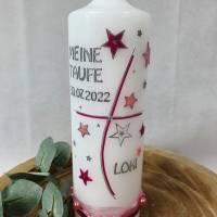 Taufkerze mit Sternen - Rosa-Beere - personalisiert inkl. Aufbewahrungsbox Bild 2