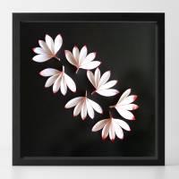 Zarte Blüten auf schwarz // 3D-Wandbild im Objektrahmen Bild 3