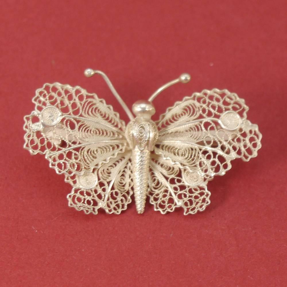 Vintage - sehr feiner Schmetterling als Brosche - 800 Silber Bild 1