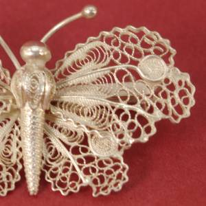 Vintage - sehr feiner Schmetterling als Brosche - 800 Silber Bild 2
