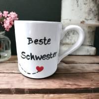 Tasse, Beste Schwester, Kaffee, 350ml, Keramik handbemalt Bild 1