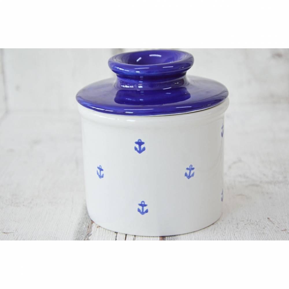 Französische Butterdose, wassergekühlt, Keramik handbemalt, Anker Bild 1