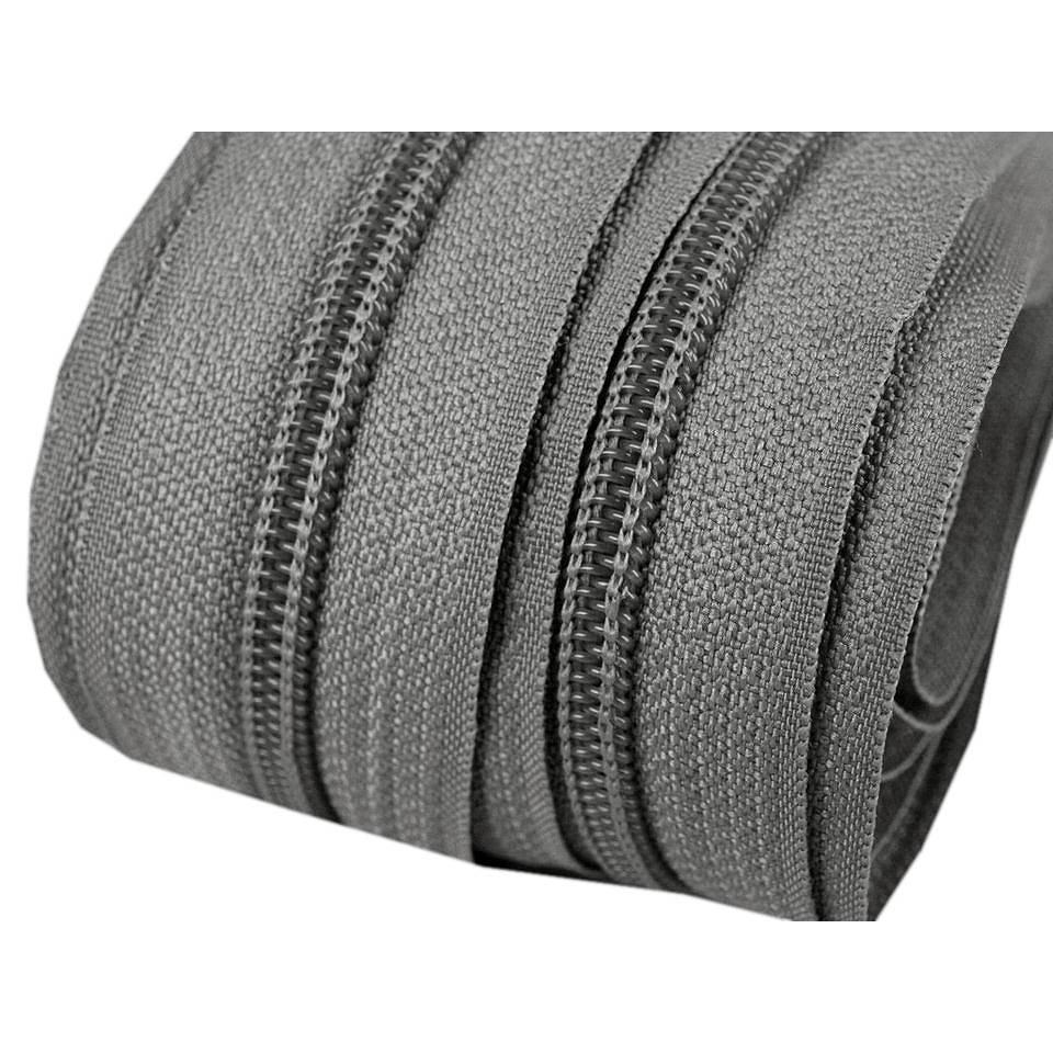 1 m Endlos Reißverschuss 5mm grau mit 3 Zipper Bild 1