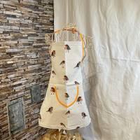 Kinder-Schürze mit  Rotkehlchen, beige-Vögel-apricot Bild 1