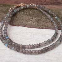 Kette Labradorit Perlen vergoldet grau schlamm Karabinerverschluss Edelstein-Kette Geschenk Frauen Halskette Bild 1