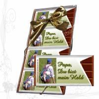 *Zum Vatertag 001*, 4 Premium-Mini-Schokotäfelchen in einer Klarsicht-Geschenkpackung mit Schleife, keine Versandkosten Bild 1