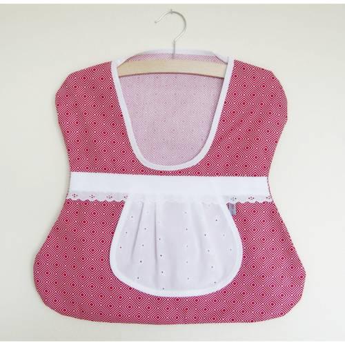 Wäscheklammer-Beutel, rot mit Spitze, Klammerbeutel, Klammerkleidchen, Aufbewahrung Wäscheklammern, Klammersack rot,