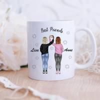 Personalisierte Tasse mit Namen beste Freundinnen Bild 1