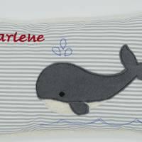 Wal Fisch Namenskissen Taufkissen Kuschelkissen Kindergartenkissen Geburtsgeschenk   Bild 3