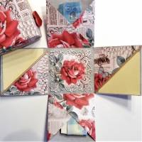 Geldgeschenk Überraschungsbox Rosen Geburtstag Namenstag Muttertag Geschenk Box Bild 1