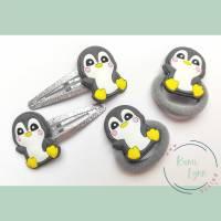 Haarschmuck Set Pinguin mir silbernen Glitzer-Spangen Bild 1