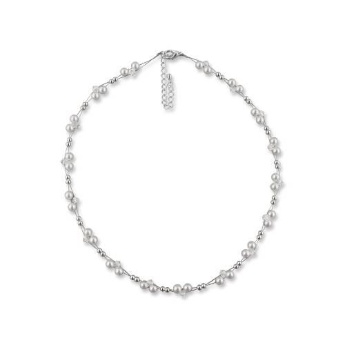 Perlen Halskette, 925 Silber, Perlen weiß creme, Swarovski Steine, Schmucketui, Perlenkette, Brautschmuck Perlencollier