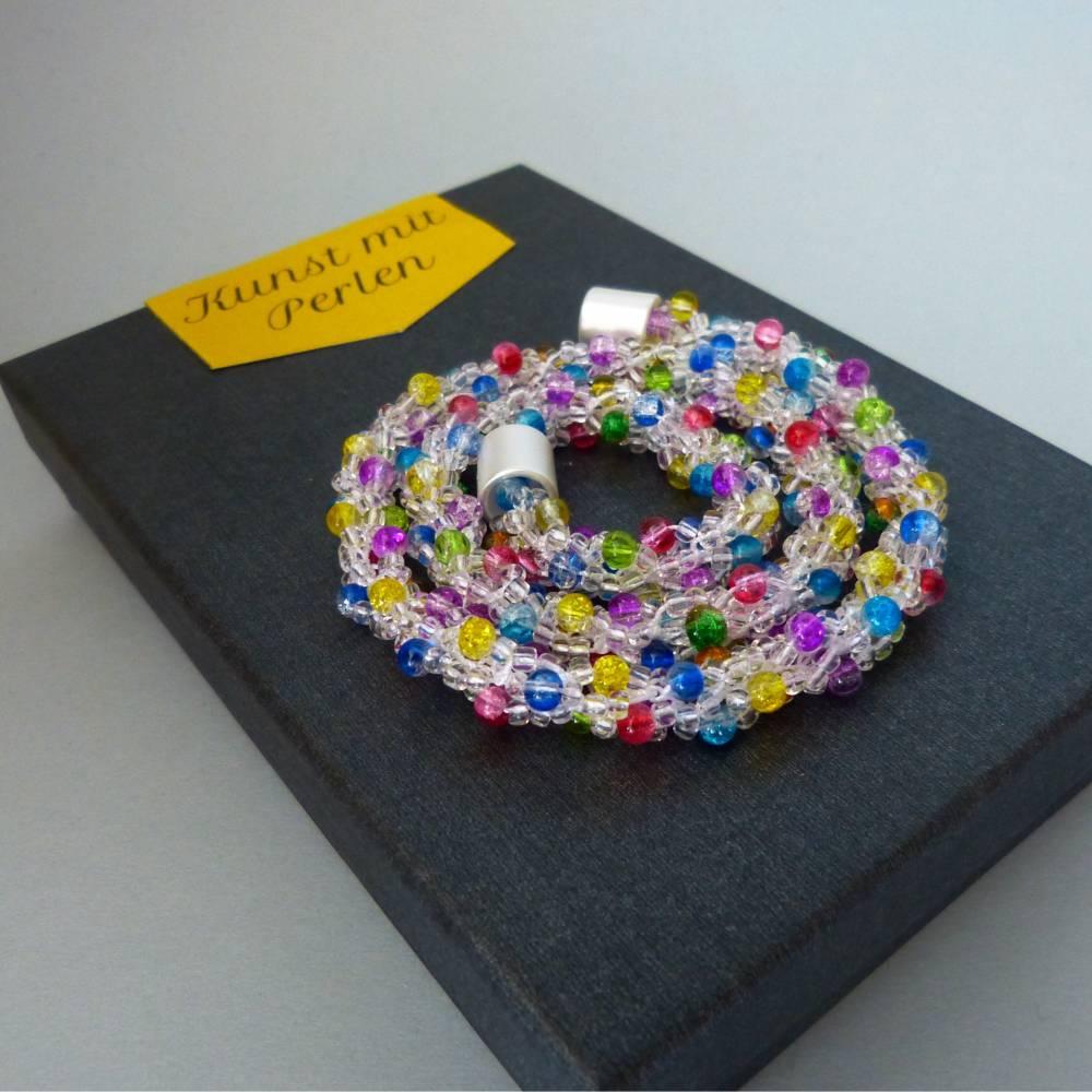 Perlenkette gehäkelt, transparent + bunt, 44 cm, Halskette, Häkelkette, Perlenkette, Glasperlenkette, Magnetverschluss Bild 1