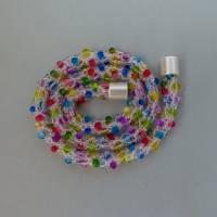 Perlenkette gehäkelt, transparent + bunt, 44 cm, Halskette, Häkelkette, Perlenkette, Glasperlenkette, Magnetverschluss Bild 3
