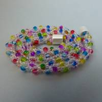 Perlenkette gehäkelt, transparent + bunt, 44 cm, Halskette, Häkelkette, Perlenkette, Glasperlenkette, Magnetverschluss Bild 4
