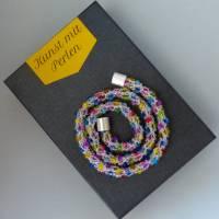 Perlenkette gehäkelt, transparent + bunt, 44 cm, Halskette, Häkelkette, Perlenkette, Glasperlenkette, Magnetverschluss Bild 5
