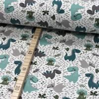 Jersey Dino mint grün grau auf weiß Bild 1