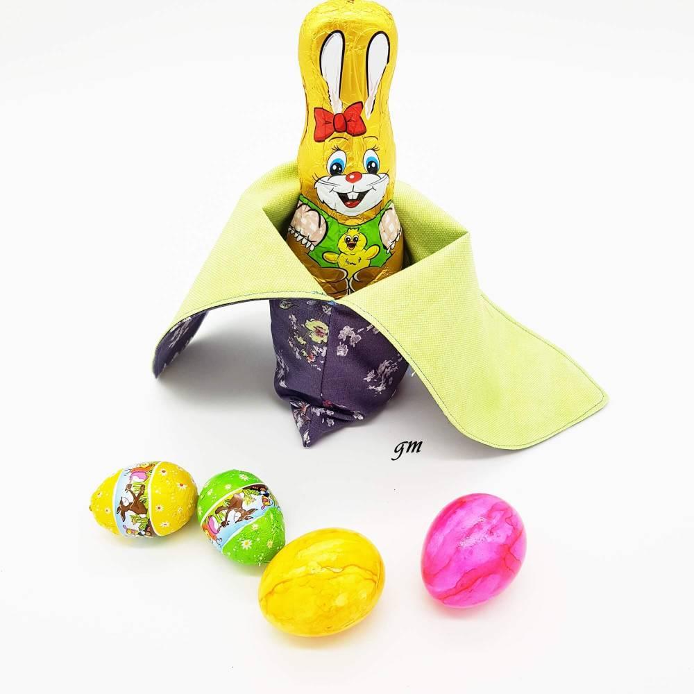 Osterhasen-Beutel, verpacke die kleinen Geschenke nachhaltig in einem Stoffbeutel, süßer Hasen-Stoffbeutel Bild 1