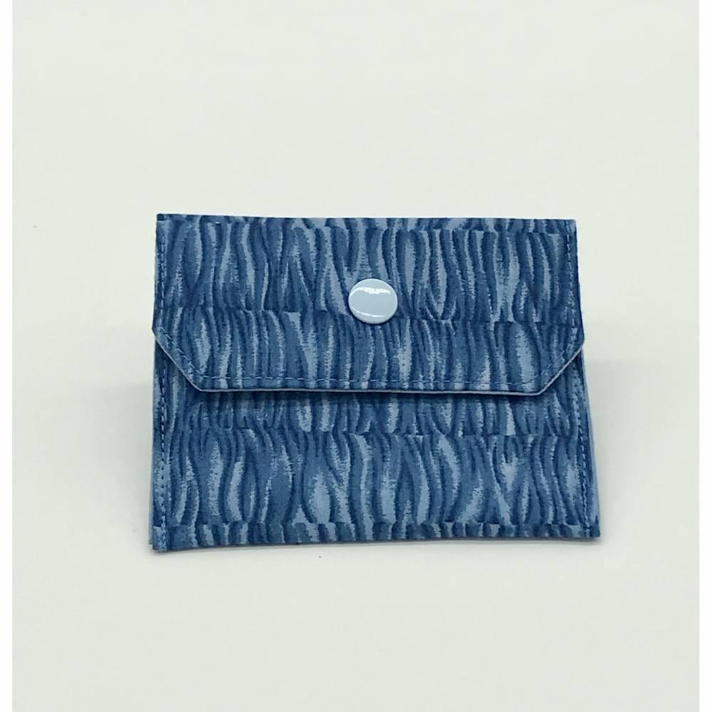 Einfacher Geldbeutel, Kartenetui, in Blau-Tönen, mit Druckknopf Bild 1