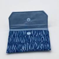 Einfacher Geldbeutel, Kartenetui, in Blau-Tönen, mit Druckknopf Bild 2