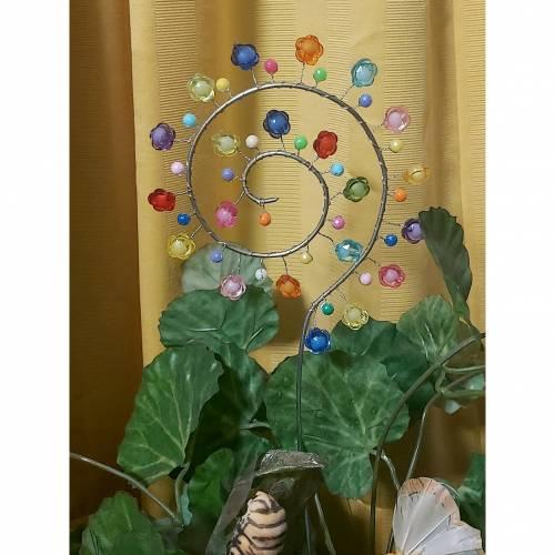 Deko Blumenstecker Gartenstecker Spirale mit Blütenperlen