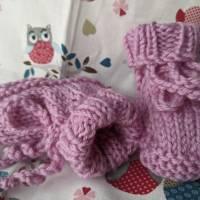 Hübsche Babyschühchen aus reiner Wolle rosa Bild 4