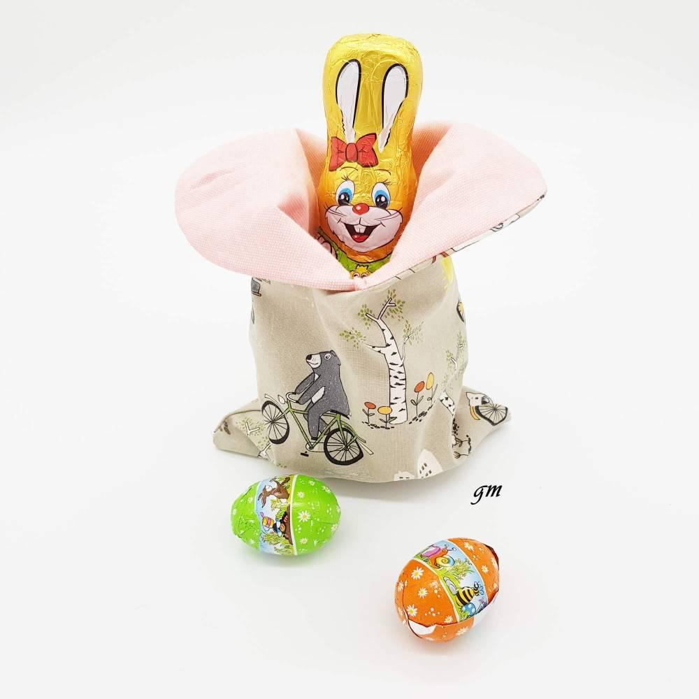 Osterhasen-Beutel, Geschenkbeutel, verpacke die kleinen Geschenke nachhaltig im Stoffbeutel, süßer Hasen-Stoffbeutel  Bild 1