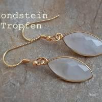 Ohrringe Mondstein 925 Silber vergoldet Tropfen Briolette Ohrhänger Mondsteine Edelstein-Ohrringe Geschenkverpackung Bild 1
