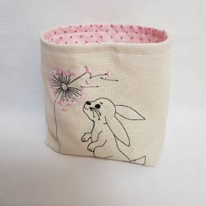 Kleines Osterkörbchen Hase mit Pusteblume weiss rosa Ostern Geschenk Bild 1