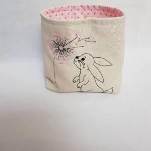 Kleines Osterkörbchen Hase mit Pusteblume weiss rosa Ostern Geschenk Bild 2