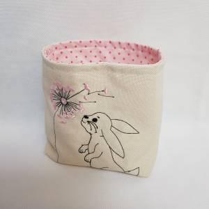 Kleines Osterkörbchen Hase mit Pusteblume weiss rosa Ostern Geschenk Bild 3