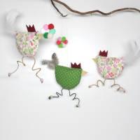lustige Hühner als 5-teiliges Set, Deko, Fenster Dekoration, Stoffhühner, Küchen-Deko, Geschenkanhänger Bild 1