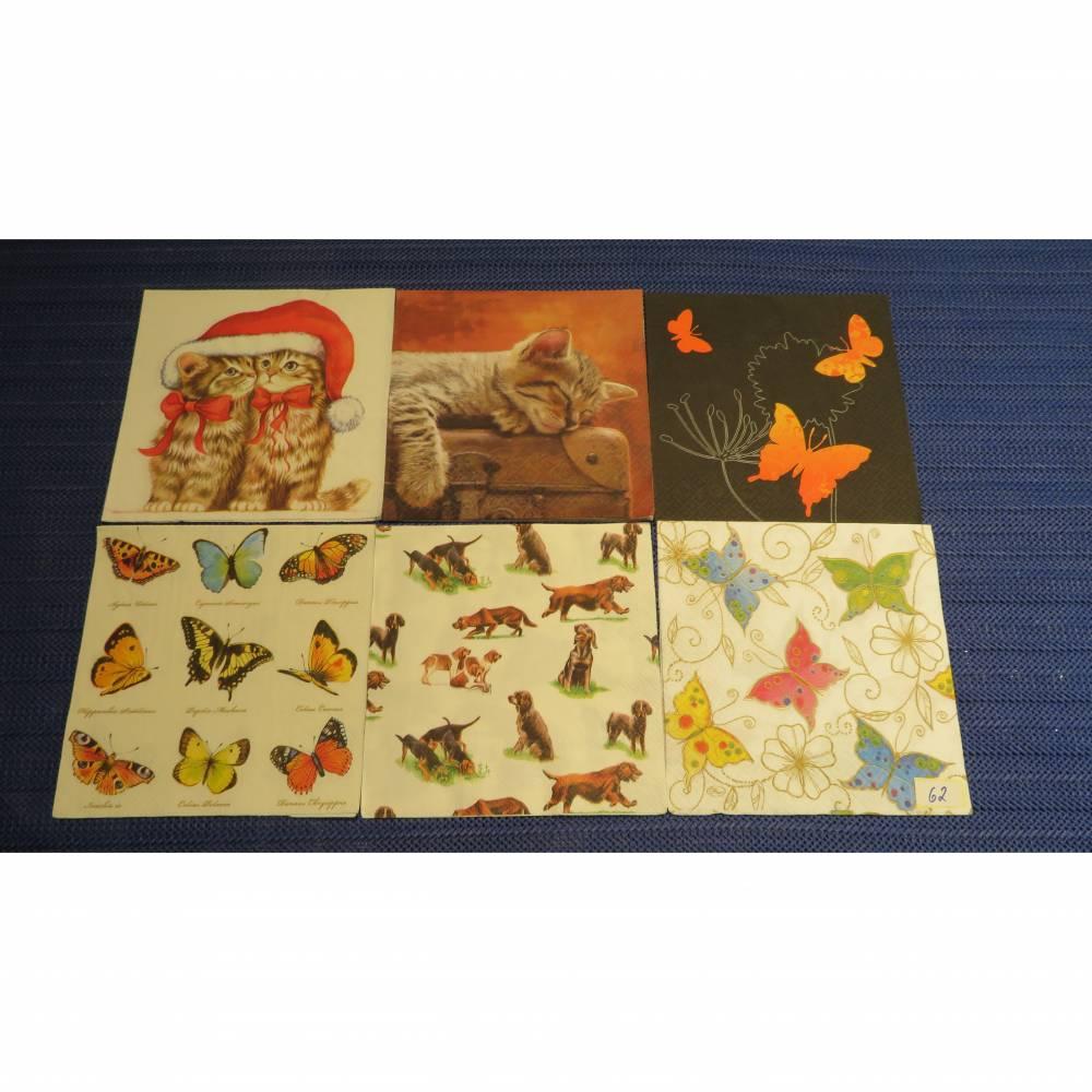 6 Servietten / Motivservietten  Tier  Motive / Katze / Koffer / Hunde / Schmetterlinge  Mix 62 Bild 1