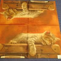 6 Servietten / Motivservietten  Tier  Motive / Katze / Koffer / Hunde / Schmetterlinge  Mix 62 Bild 2
