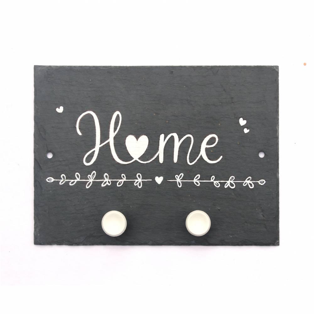 Schiefer Hakenleiste Schlüsselbrett  Home handbemalt 2 Haken 3 Varianten Handlettering Bild 1