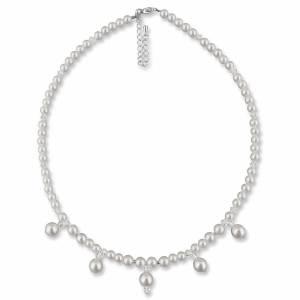 Halskette mit Anhängern, 925 Silber, Perlenkette creme weiß, Kette kleine Perlen, Brautschmuck, Perlen Collier Bild 1